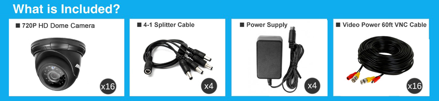 ANNKE® 4CH 720P HD TVI IR-CUT IP66 CCTV Dome Security Cameras C11BG