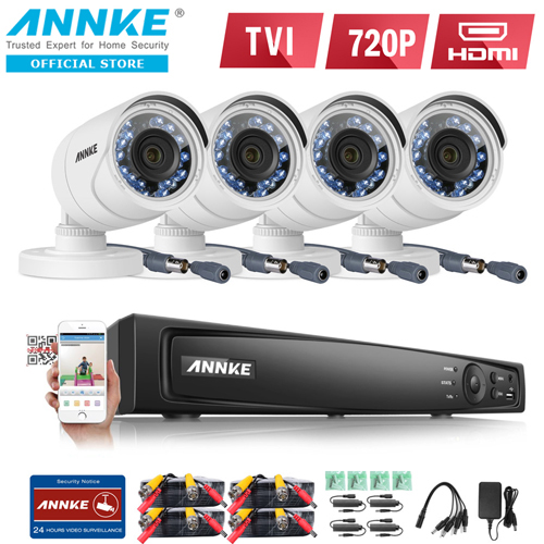 ANNKE 4CH 1080P HD TVI Smart IR-Cut IP66 CCTV Bullet Security Camera (C51BS) & 4CH 1080P 2MP TVI/AHD/Analog/IP 4-in-1 Smart DVR (DT41G)