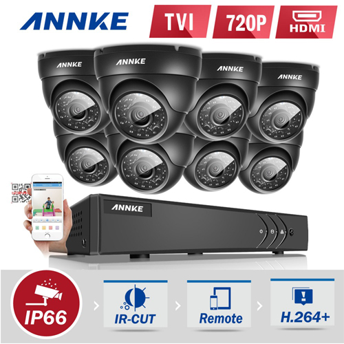 ANNKE® 8CH 720P 1080P Lite HD TVI DN81R CCTV Security System with 8 Dome Cameras