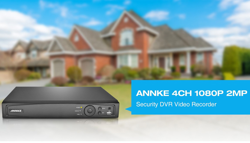 ANNKE® 4CH 1080P 2MP TVI/AHD/Analog/IP 4-in-1 Smart DVR DT41Y - Motion Detection, Email Alert, P2P Remote Mobile Monitoring, H.264+ Video Compression, Smart Search Playback, & HDMI VGA Output