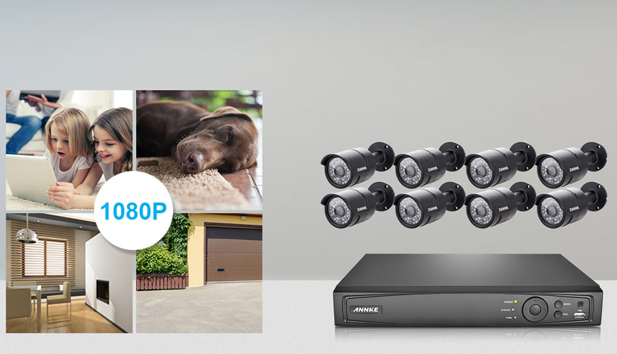 ANNKE? 8CH 1080P 2MP TVI/AHD/Analog/IP 4-in-1 Smart DVR DT81Y - Motion Detection, Email Alert, P2P Remote Mobile Monitoring, H.264+ Video Compression, Smart Search Playback, & HDMI VGA Output