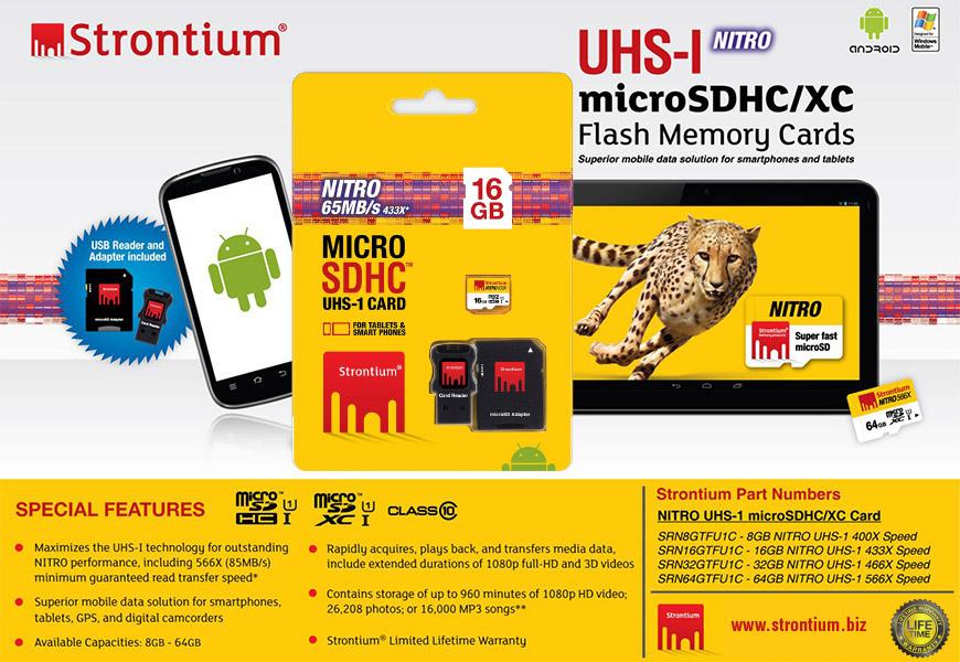 Strontium Nitro 16GB 65MB/s U3 Class 10 UHS-1 MicroSDHC MicroSD Memory Card
